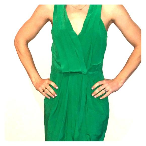 green silk cocktail dress